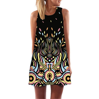 Sleeveless Summer Dress - black brown / S