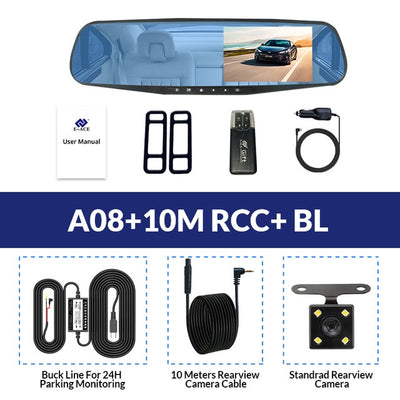 Car Rear View Mirror With Camera - A08-10M RCC-BL / With 8G TF Card