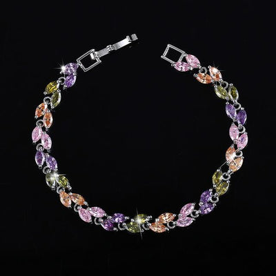 Cubic Zirconia Leaves Bracelet - Multi-colored
