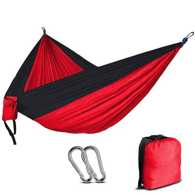 2 Person Outdoor Camping Nylon Hammock - Red and Black
