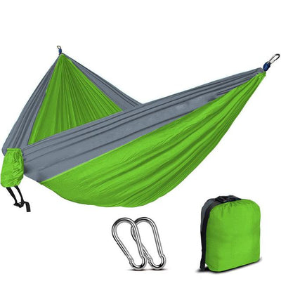 2 Person Outdoor Camping Nylon Hammock - Green and light grey