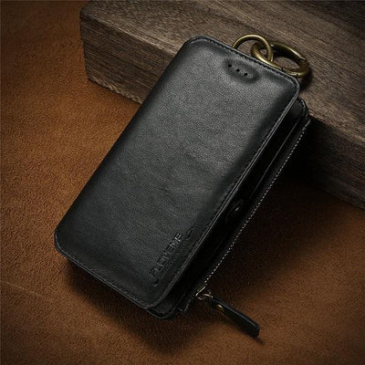 Business Leather Wallet Case - Cool Black / For iPhone 7 8 Plus