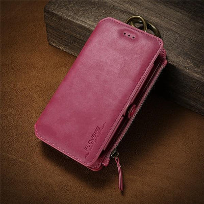 Business Leather Wallet Case - Rose Pink / For iPhone 7 8 Plus