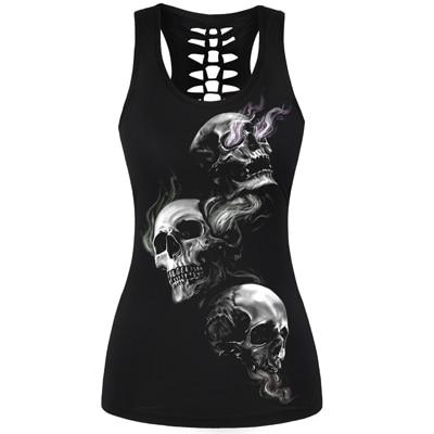 3D Skull Print Hollow Out Back Tank Top - Trio Skull / S