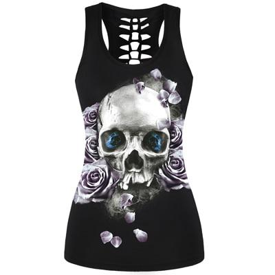 3D Skull Print Hollow Out Back Tank Top - Eyed Skull / S