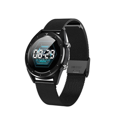 GPS Touch Screen Smart Watch - Steel Strap Black / 220mm