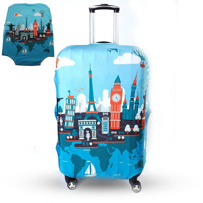 Varicolored Suitcase Protective Cover - Travel / S