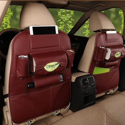 S1P Faux Leather Car Back Seat Organizer - red