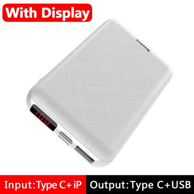 10000mAh Power Bank - LED Display White