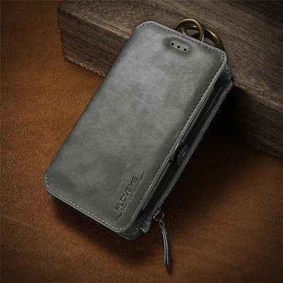 Business Leather Wallet Case - Grace Gray / For iPhone 7 8 Plus