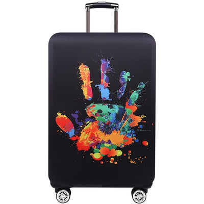 Varicolored Suitcase Protective Cover - Hand Print / S