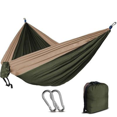 2 Person Outdoor Camping Nylon Hammock - Army Green and khaki