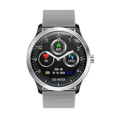 ECG PPG Display Smart Watch - Silver steel strap