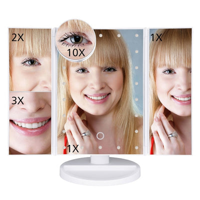 Touch Screen LED Makeup Mirror - 22 Lights Fold White