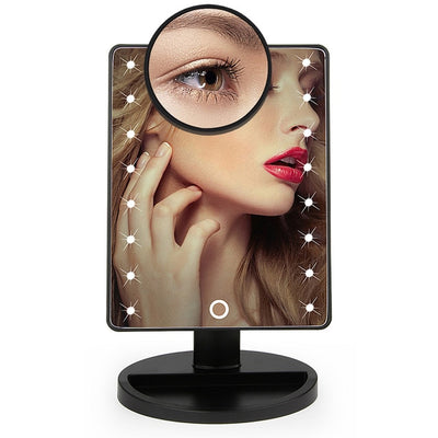 Touch Screen LED Makeup Mirror - 16 Led Lights Black