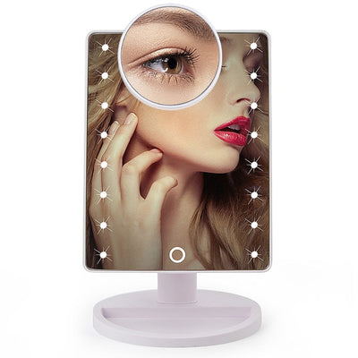 Touch Screen LED Makeup Mirror - 16 Led Lights White