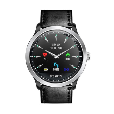 ECG PPG Display Smart Watch - Black leather strap