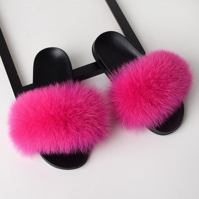 Fur Slippers for Women - Rosy Red / 6