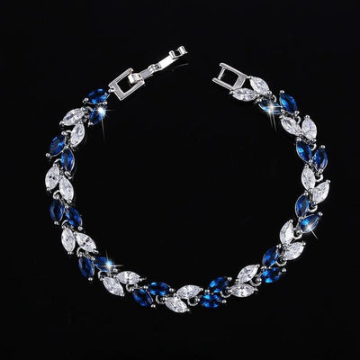 Cubic Zirconia Leaves Bracelet - Royal Blue