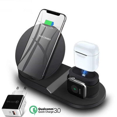 3 in 1 Wireless Charging Station - Black EU plug