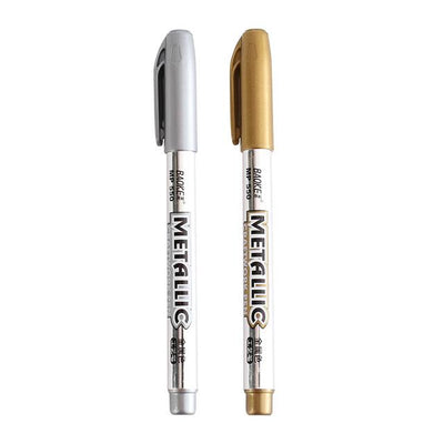 Metal Waterproof Paint Marker Pen - 1 Silver  1 gold