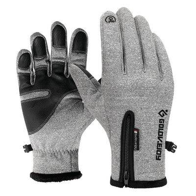 Waterproof Winter Leather Gloves - Gray Gloves / S Palm Width 6-6.5CM