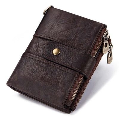 Genuine Leather RFID Wallet - Coffee / China