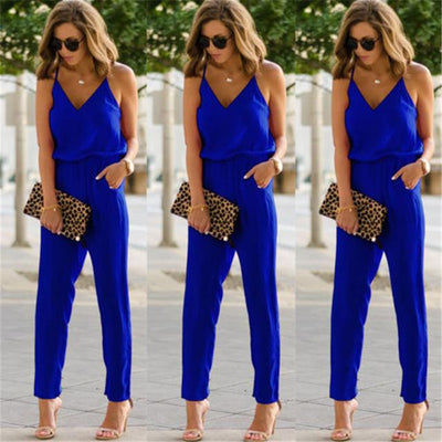 Casual Sleeveless Jumpsuit - Blue / S