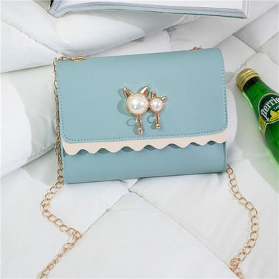 Chain Shoulder Bags - Blue / 18x4x14cm