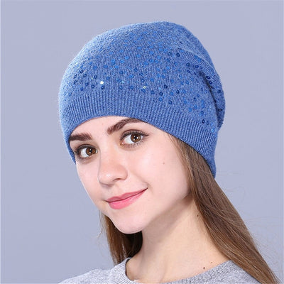 Knitted Hat for Women - Blue