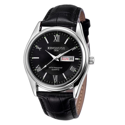 Mens Watches - Black Leather Black