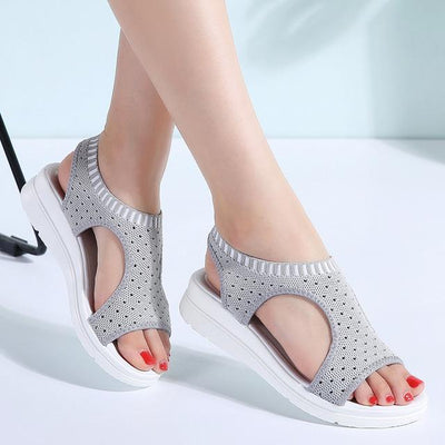 Summer Wedge Sandals - Gray / 5