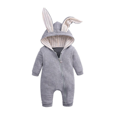 Bunny Rompers For Baby - Gray / 3M
