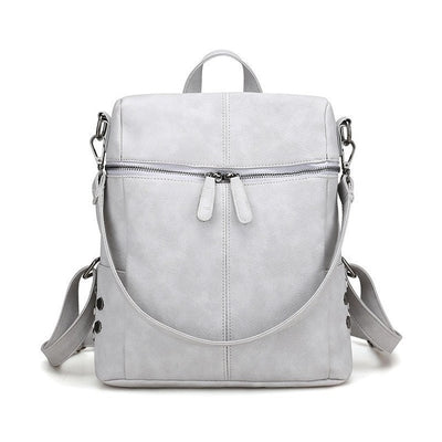 Women's Leather Backpack - Grey