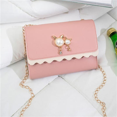Chain Shoulder Bags - Pink / 18x4x14cm