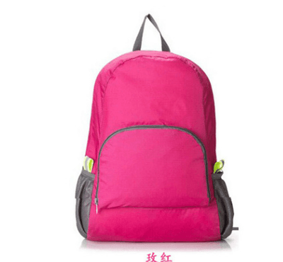 Lightweight Foldable Waterproof Nylon Backpack - Pink