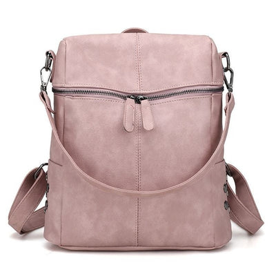 Women's Leather Backpack - Pink