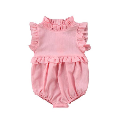 Newborn Baby Girls Sleeveless Romper - Pink / 6M