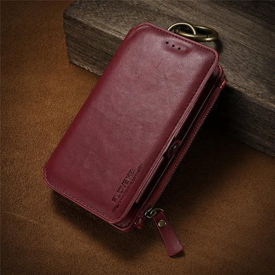 Business Leather Wallet Case - Zeal Red / For iPhone 7 8 Plus