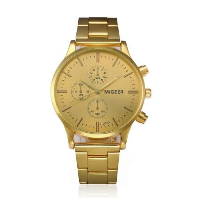 Men's Steel Band Watch - Dial Gold