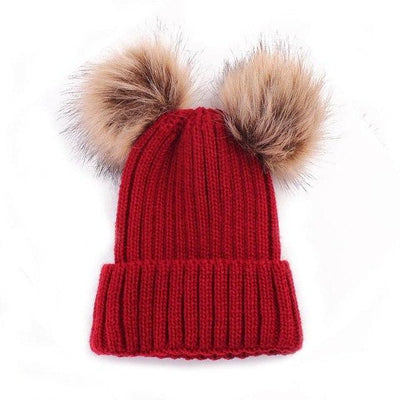 Super Soft Knitted Beanie - Red 2 Poms