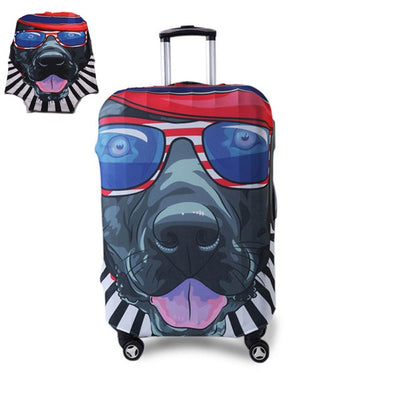Varicolored Suitcase Protective Cover - Cool Dog / S