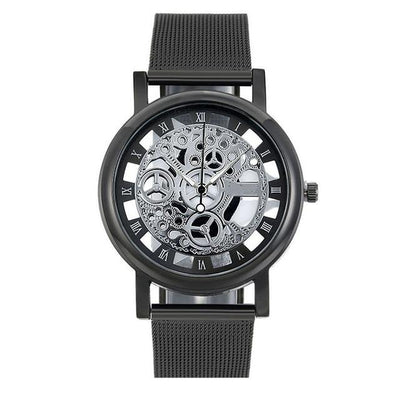 Men's Skeleton Watch - Black Silver