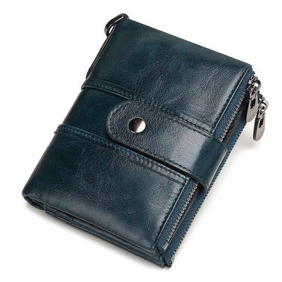 Genuine Leather RFID Wallet - blue / China