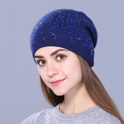 Knitted Hat for Women - navy
