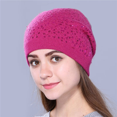 Knitted Hat for Women - rose