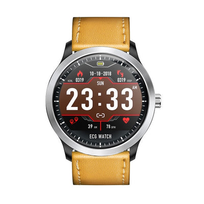 ECG PPG Display Smart Watch - Brown leather strap