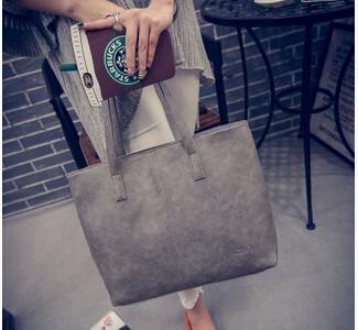 Large Scrub Leather Handbag - gray