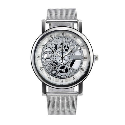 Men's Skeleton Watch - Silver