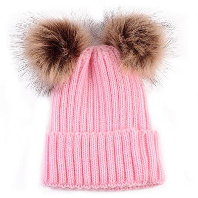 Super Soft Knitted Beanie - Pink 2 Poms